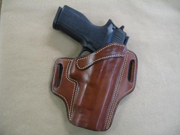 Kimber Ultra Carry 1911 OWB Leather 2 Slot Molded Pancake Belt Holster TAN LEFT